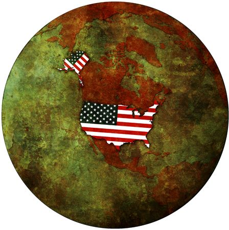 usa flag on map of earth globe photo