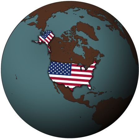 usa flag on map of earth globe photo