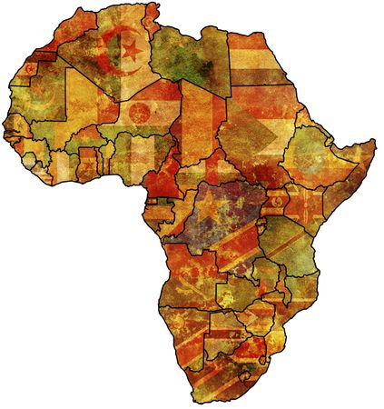 some very old grunge map with flags of africa 写真素材