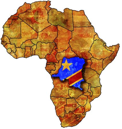 democratic: some very old grunge map with flag of congo