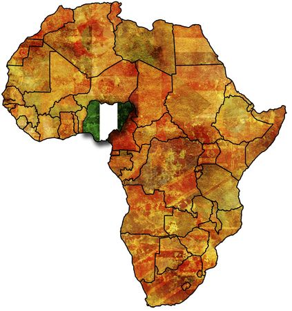 nigeria: some very old grunge map with flag of nigeria