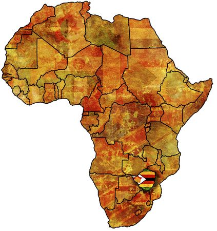 zimbabwe: some very old grunge map with flag of zimbabwe