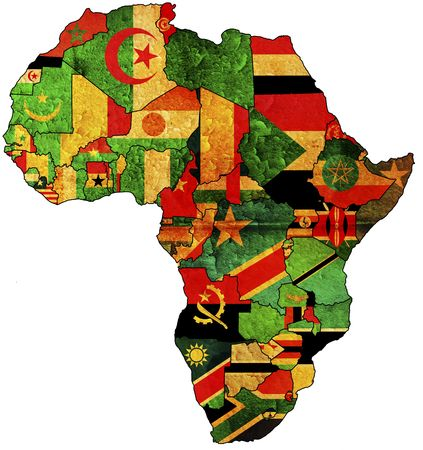 some very old grunge map with flags of african countries