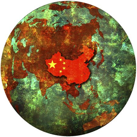 3d view from space on southern hemisphere with china flag photo