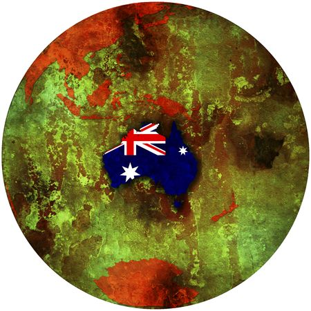 3d view from space on southern hemisphere with australia flag photo