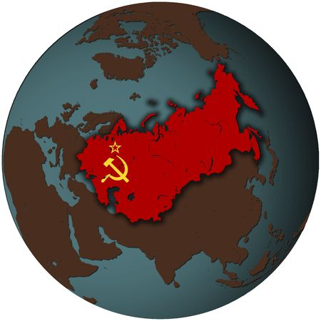 3d view from space on southern hemisphere with ussr flag photo