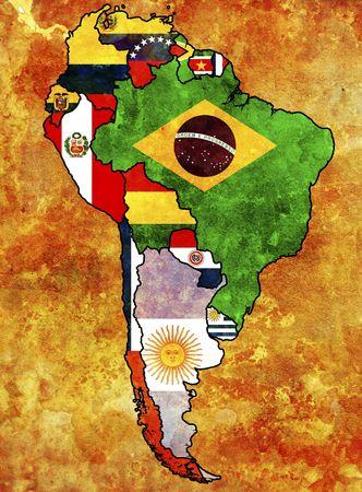 south america: algunas banderas de grunge muy antigua de los pa�ses de Sur Am�rica