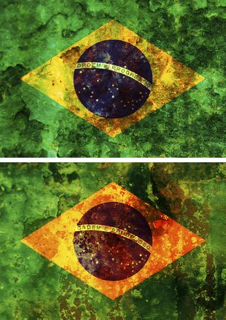 middle america: some very old grunge flag of brazil