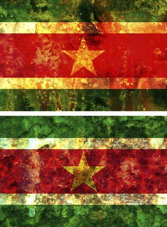 suriname: sommige zeer oude grunge vlag van suriname  Stockfoto