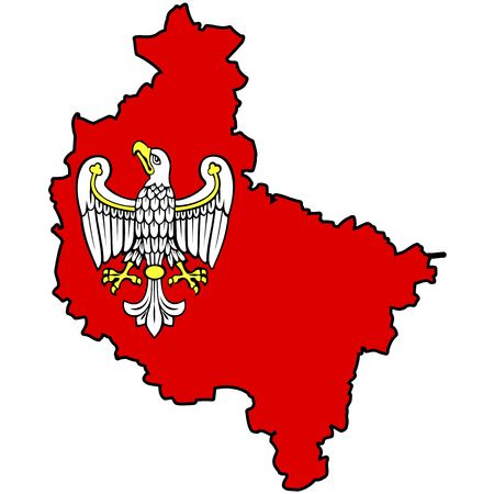 wielkopolskie: territory of provinces (voivodships) in poland (administration map)