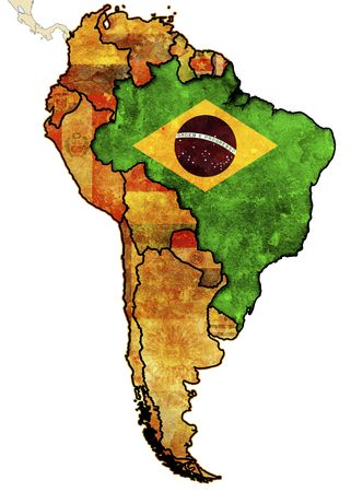 some old grunge political map of brazil Stock Photo