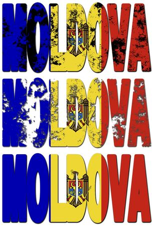 moldova: some very old grunge flag of moldova made of name of country Stock Photo