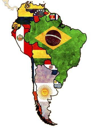 banderas america: algunos muy viejo mapa de grunge de los países de América del sur  Foto de archivo
