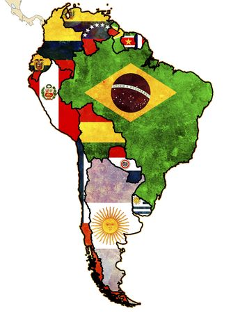 some very old grunge map of south american countries Imagens - 6182062