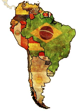 latinos: some very old grunge map of south american countries