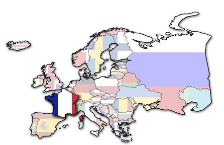 some very old grunge map of france with flag on map of europe photo