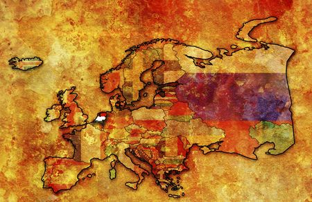 some very old grunge map of netherlands with flag on map of europe Stock Photo - 6199477
