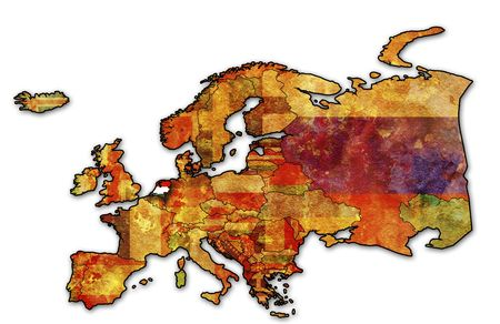 some very old grunge map of netherlands with flag on map of europe Stock Photo - 6199530