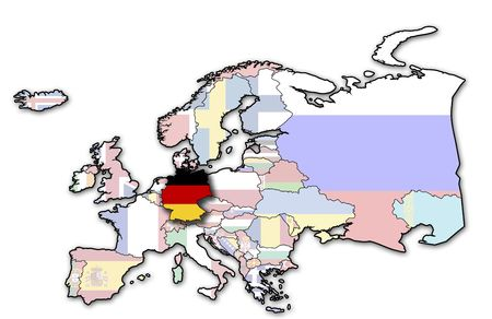 some very old grunge map of germany with flag on map of europe photo