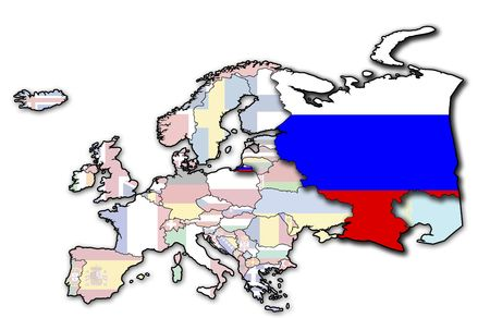 kreml: some very old grunge map of russia with flag on map of europe