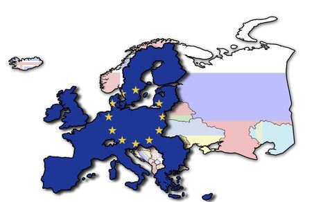 some very old grunge map of european union with flag on map of europe photo