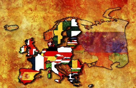 some very old grunge map of european union with flags of countries photo