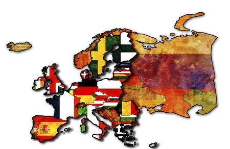 some very old grunge map of european union with flags of countries Stock Photo