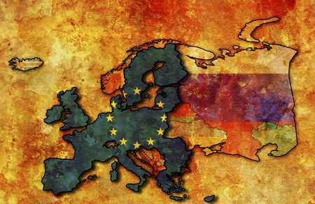 some very old grunge map of european union with flag on map of europe Stock Photo - 6221910
