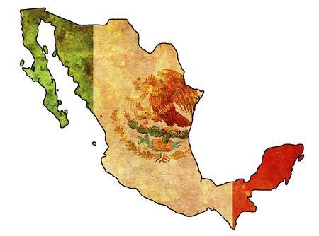wall maps: algunos muy antigua bandera de grunge de M�xico Foto de archivo