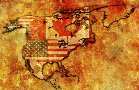 nafta: some very old grunge map of NAFTA