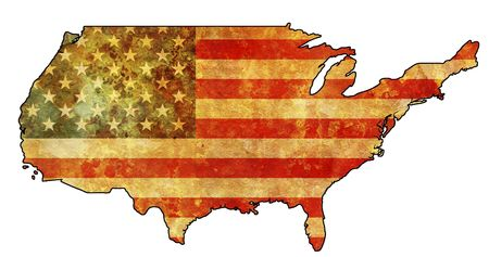 some very old grunge map with flag of usa photo