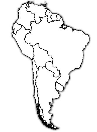 south america: old political map of south america with country territories