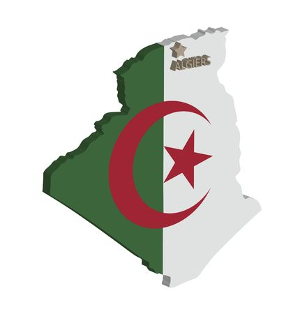 3d map of algeria with flag and capital marked Stock Photo - 6436793
