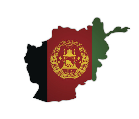 afghanistan': some old vintage map with flag of afghanistan