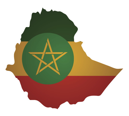 some old vintage map with flag of ethiopia Vector