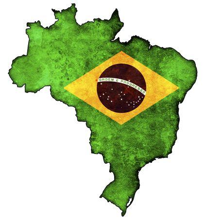 mapa politico: Algunos viejo mapa de cosecha con la bandera de Brasil