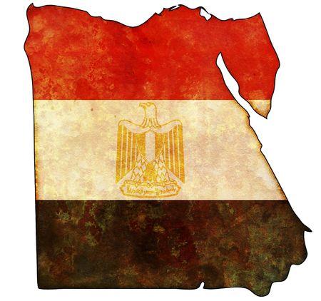 egypt flag: Algunos viejo mapa de cosecha con la bandera de Egipto