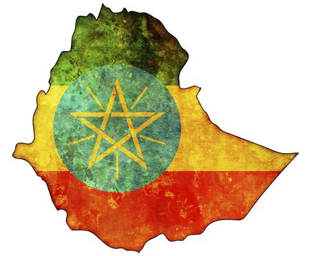 some old vintage map with flag of ethiopia photo