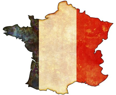 france map: some old vintage map with flag of france Stock Photo