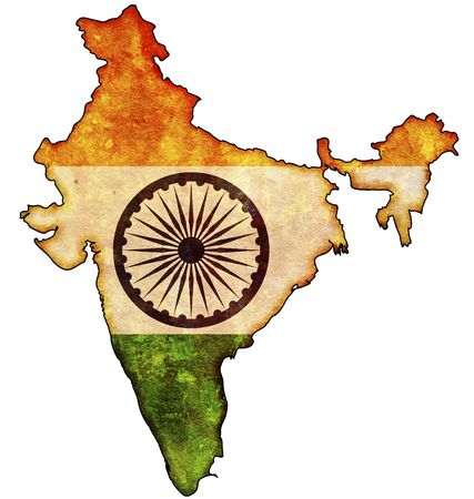 some old vintage map with flag of india photo