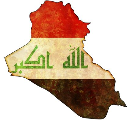 iraq flag: some old vintage map with flag of iraq
