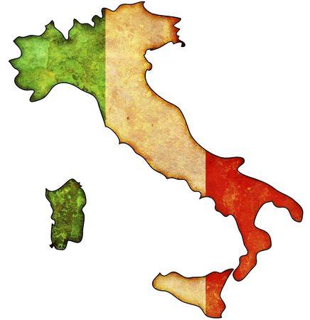 mapa politico: Algunos viejo mapa de cosecha con la bandera de Italia