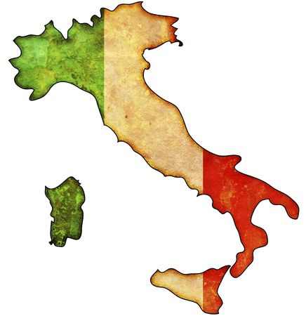 political map: some old vintage map with flag of italy Stock Photo