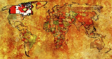 old political map of world with flag of canada photo