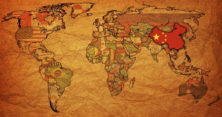 old political map of world with flag of china photo