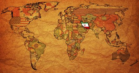 old political map of world with flag of iran photo
