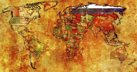old political map of world with flag of russia Stock Photo - 6636432