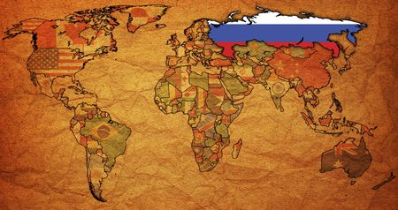 old political map of world with flag of russia photo