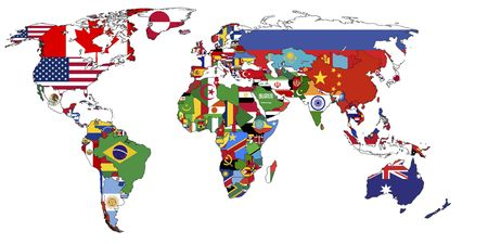 old political map of world with country flags