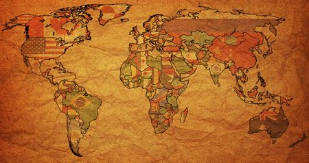 old political map of world with country flags Stock Photo - 6636527